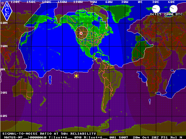 2000 UTC 20M PSK31 Signal Footprint during October 2009 for NW7US