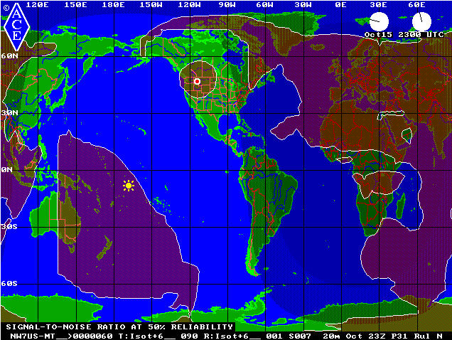 2300 UTC 20M PSK31 Signal Footprint during October 2009 for NW7US