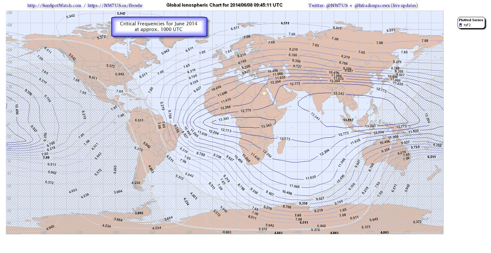 Critical foF2 map (2014 June 08 at 1000 UTC)